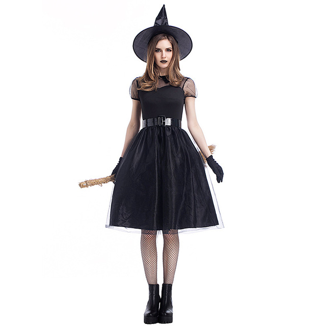 Black Gothic Witch Costume For Adult Women