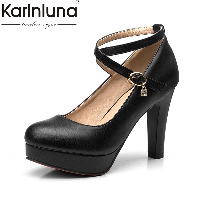 KARINLUNA <font><b>2018</b></font> <font><b>Top</b></font> <font><b>Quality</b></font> Size 34-39 Ankle Strap Black <font><b>Women</b></font> <font><b>Shoes</b></font> <font><b>Sexy</b></font> Round Toe Chunky <font><b>High</b></font> <font><b>Heels</b></font> Party Wedding Woman <font><b>Pumps</b></font> image