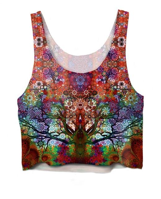 3d Chaleco de Verano Estilo de Viaje Tree Crop Top Mujeres Sexy chaleco de La Muchacha colores brillantes trippy Recortada Tanque Tapas de La Manera Corta camisa
