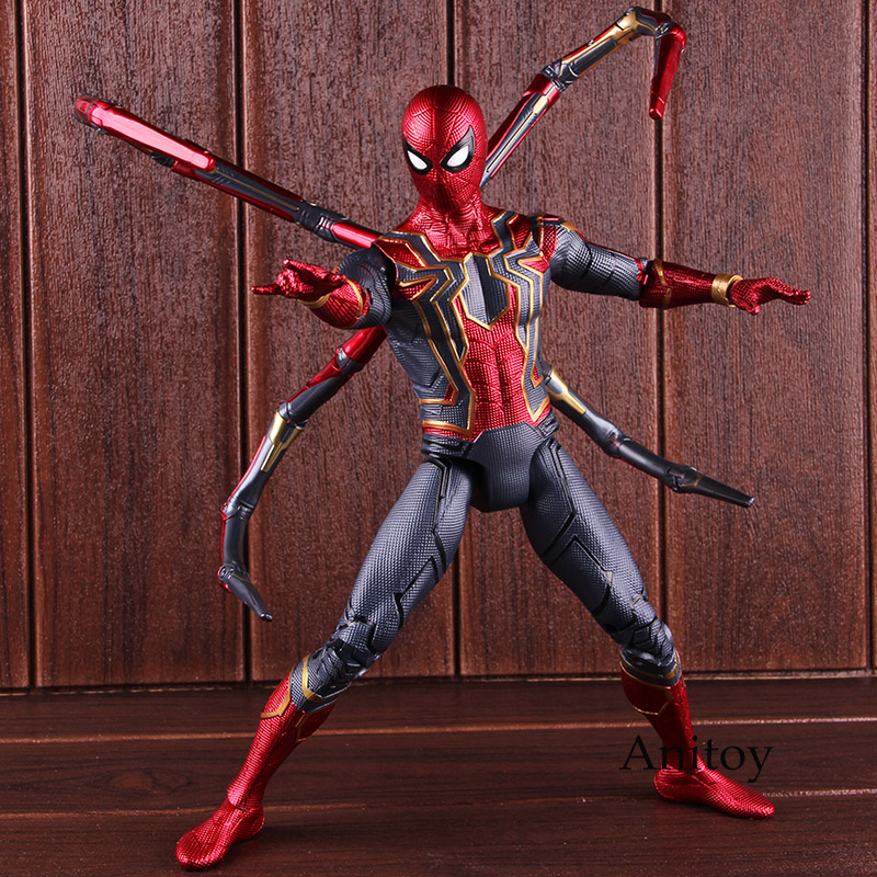 купить Avengers Infinity War Marvel Spiderman Iron Spider Action Figure PVC Collectible Model Toy Big Size with Lighted Eyes недорого
