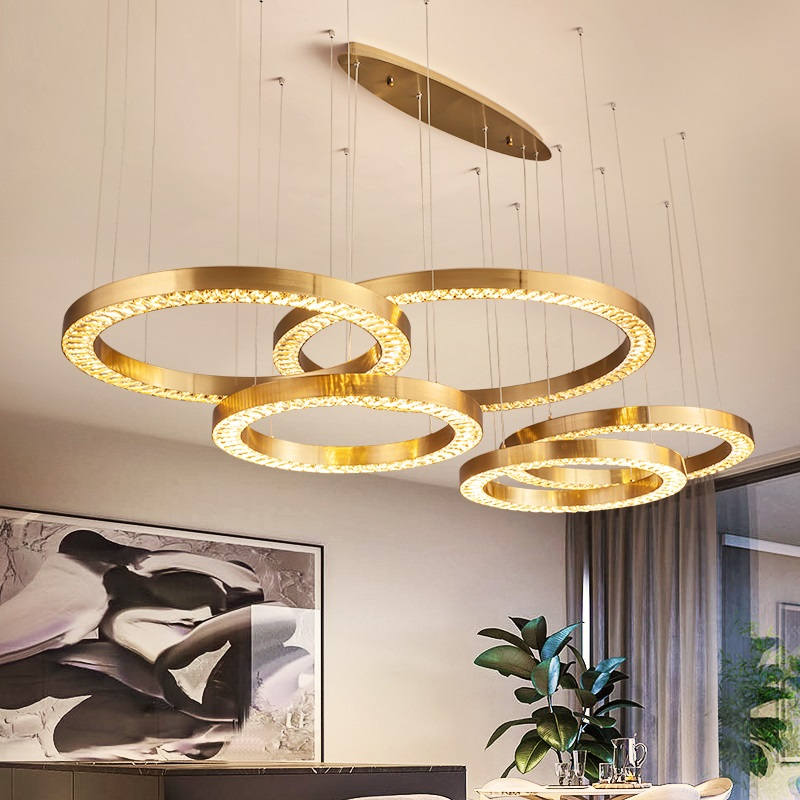 Ring Crystal Lamparas LED Pendant Lights Home Lighting Fixtures Villa Luminaire Duplex Hanging LampThree color dimmable Lustre