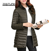 JOGTUME Duck Down Warm Jacket 2017 Autumn Winter Women Slim Jackets Long Style Ladies Fashion Lightweight Cost Plus Size 3XL 4XL