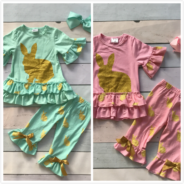 Easter mint pink bunny gold short sleeves baby Girls print outfits cotton capri set summer outfits with matching accessories