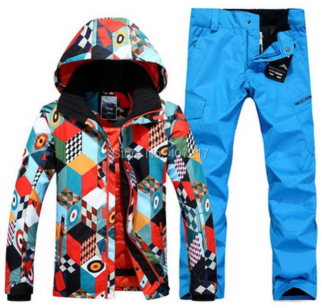 2017 new mens blue ski suit snowboarding suit men male magic cube ski jacket  and royal blue ski pants skating suit sportswear-in Skiing Jackets from  Sports ... 24729fa91