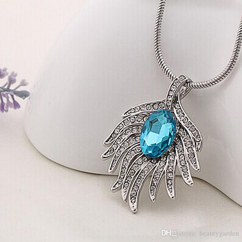12pcs/lot Nice Jewelry Peacock Feather Locket Necklace Blue ...