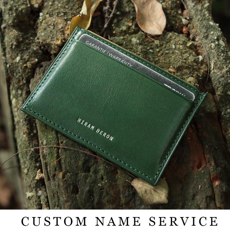 Hiram Beron RFID Blockering Läder Kort Hållare Män Custom ID Mini - Plånböcker - Foto 2