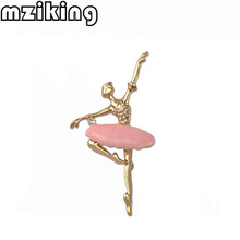 New Crystal Ballerina Brooch Pin for Women Cute Dancer Girl Enamel Pin Broach Female Coat Broches Lapel Pin Wedding Jewelry Gift(China)