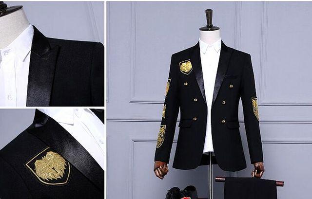 Бесплатная доставка мужские royal черный/красный вышивки смокинг/stage performance jaceket/only куртка
