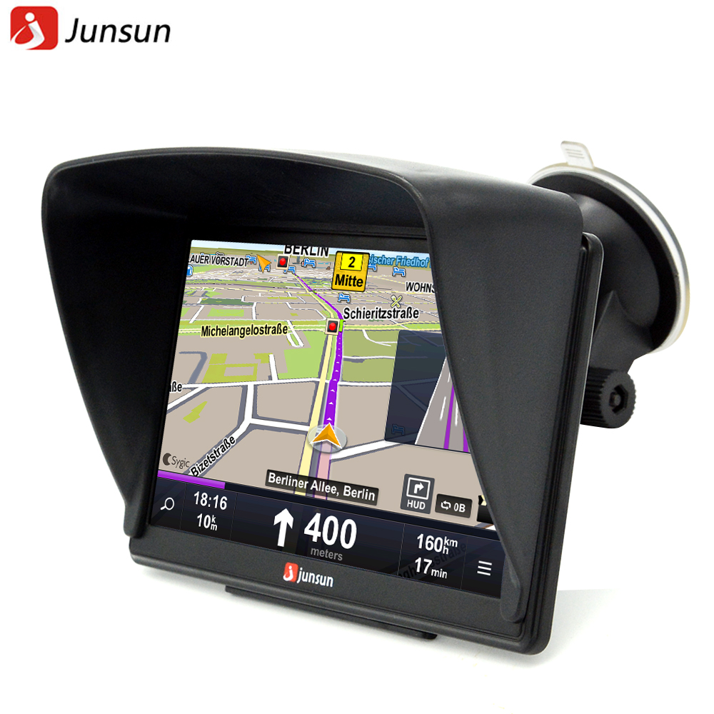 Junsun 7 inch HD Car GPS Navigation Bluetooth AVIN Capacitive screen FM 8GB/256MB Vehicle Truck GPS Europe Sat nav Lifetime Map aw715 7 0 inch resistive screen mt3351 128mb 4gb car gps navigation fm ebook multimedia bluetooth av europe map