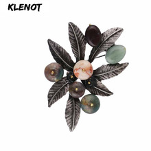 Vintage Floral Leaves Brooch Leaf Flower Brooch Retro Silver Stone Pins and Brooches for Women Material Scarf Pins Plant Jewelry stone brooch flower pins and brooches for women jewelry ancient silver flower brooch natural gemstone craft material scarf pins