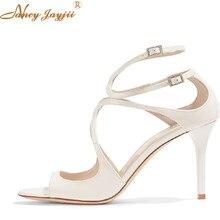 Ivette 85 Cutout Patent-Leather Sandals Bridesmaid Clogs Women Shoes Pumps  High heels 12CM Wedding Bridal Party White 2fbe42ccac6c
