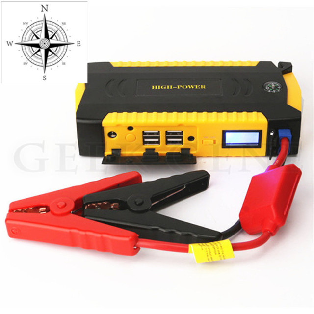 GeekGene Multi-Function 16000mAh 12V Petrol Diesel Car Jump Starter 4USB Phone Laptops Power Bank Comapss SOS Lights Free Ship