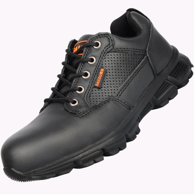 Cuero Con Botas Acero De Punta Zapatos Seguridad Hombres Los qwpWZa11