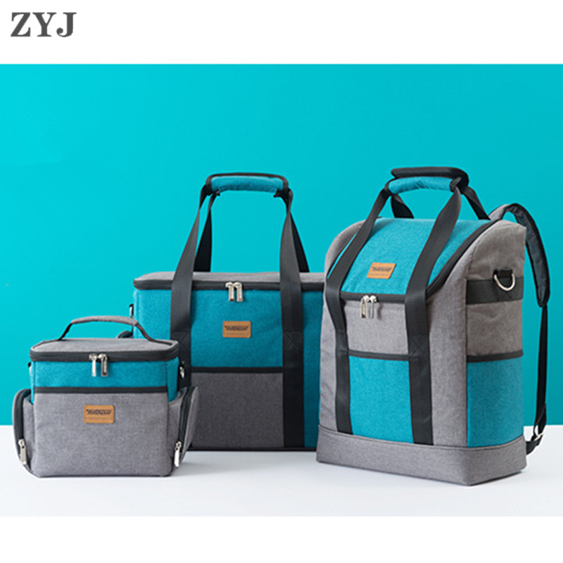 ZYJ Outdoor Food Insulation Picnic Cooler Bags Takeout Warmer Cans Backpack Car Ice Shoulder Lunch Tote Cool Bag Package image