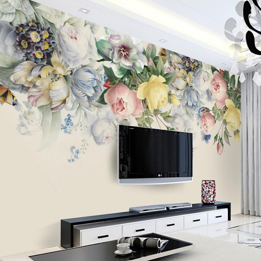 Custom Size 3D Mural Wallpaper European Style Floral Living Room TV Backdrop Photo Wall Paper Hand Painted Rose Flower Art Mural