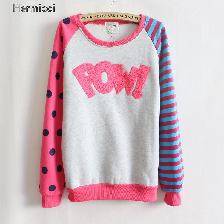 4 Colors Casual Women Letter Print Pow Fleece Sweatshirts Polka Dot Stripe Girls Tracksuit Girls Harajuku Sudaderas Mujer 2017