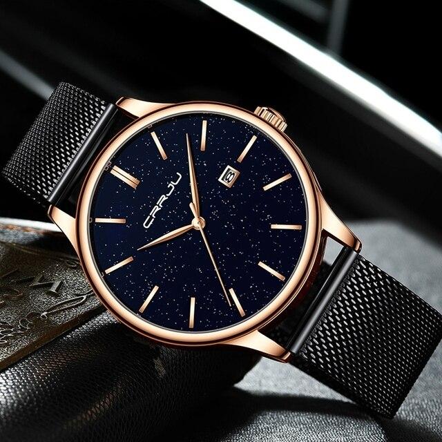 Высокое качество CRRJU Лидирующий бренд сетки Изящные часы для женщин Дамская мода платье кварцевые наручные часы римскими цифрами