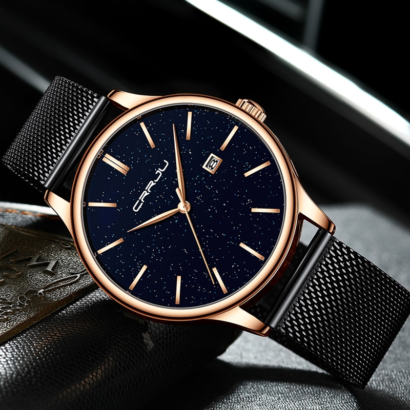Women Watches CRRJU Top Brand Luxury Slim Starry Sky Watch For Ladies Fashion Dress Quartz Wristwatches Gift Mesh Band Watch