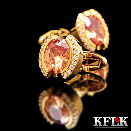 KFLK Luxury 2020 HOT tričko manžetové knoflíčky pro muže Značkové manžetové knoflíky Křišťálové manžetové knoflíky Zlaté vysoce kvalitní abotoaduras Šperky