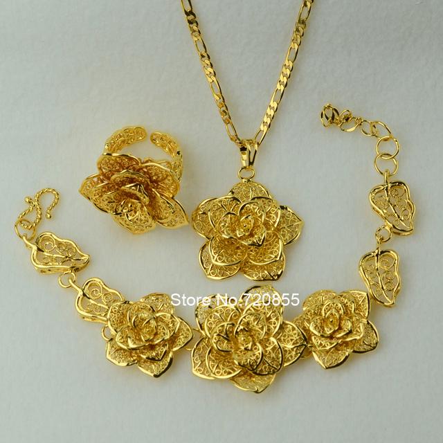 Big Flower set Jewelry  Real Gold Plated Pendant Chain Bangle Ring Wedding Bridal Jewellry Set Women ethiopian/Africa/Arabic