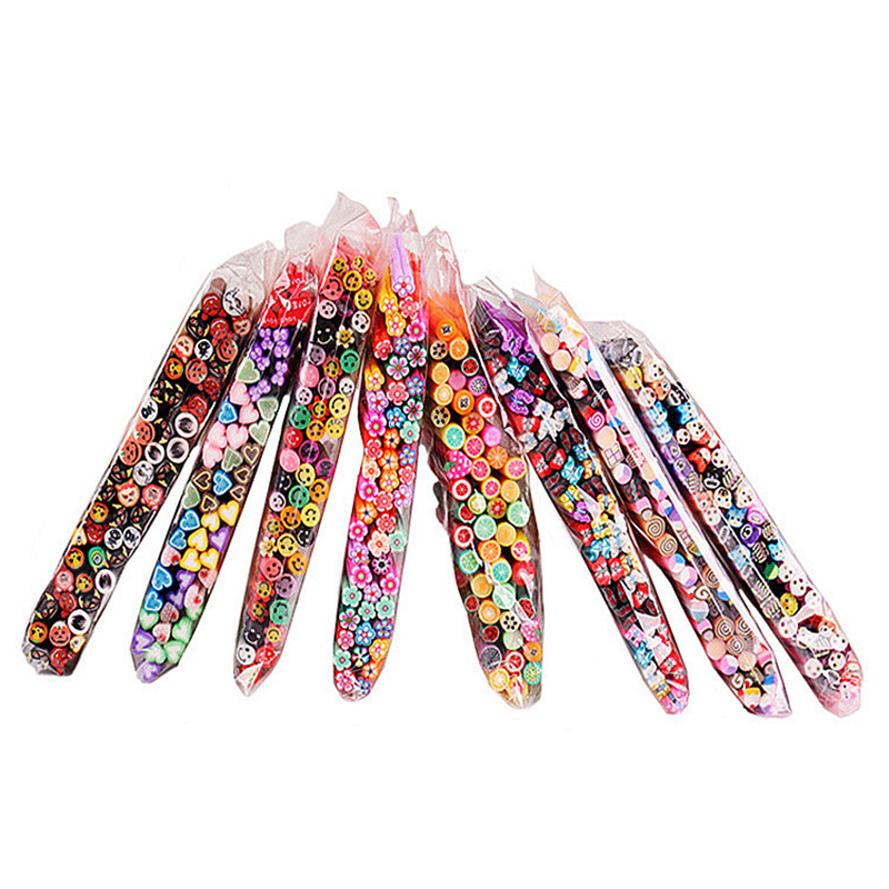 50pcs/set Nail Art Decorations Fruit Flower Butterfly Heart Feather Animal Canes Stick Rods Polymer Clay Stickers Tips Beauty one piece chic heart butterfly patterns nail art print template