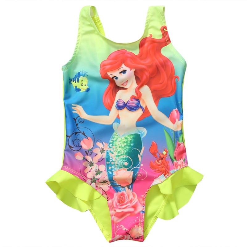 d3a014ecec Kids Children Girls One-Piece Swimwear Cute Cartoon Mermaid Swimming Suit  Toddler Child Ariel Swimsuit