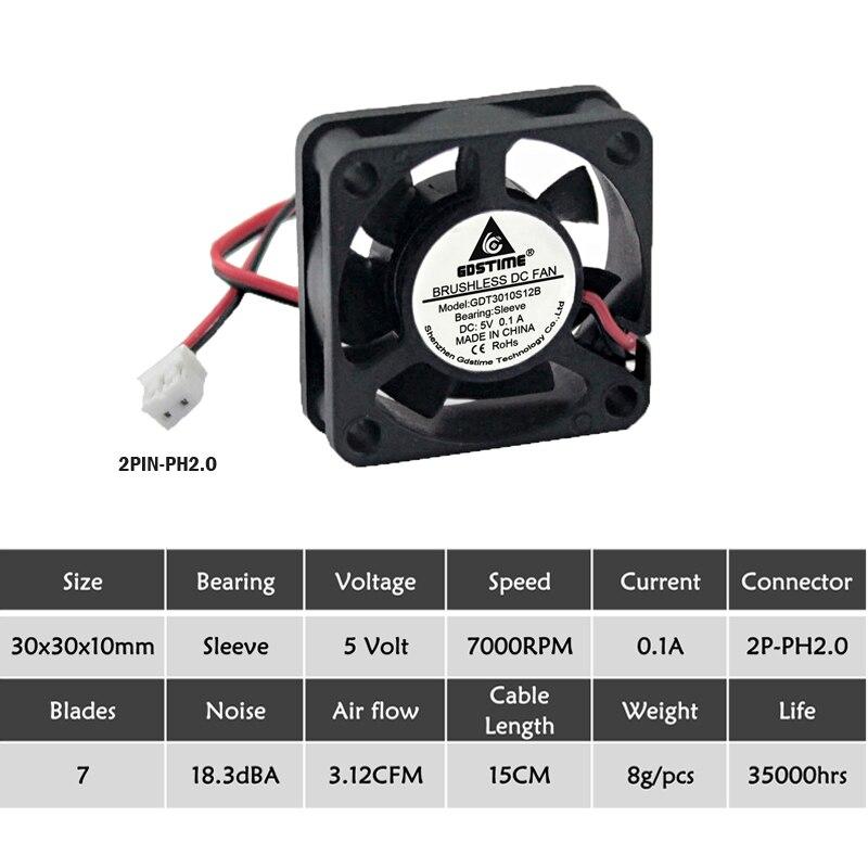 5 шт. Gdstime 3010 5 в 12 В 24 В 2Pin 3 см 30 мм 30x30x10 мм микро DC мини Бесщеточный кулер вентилятор охлаждения - Цвет лезвия: 5V 2P2.0 7Blades