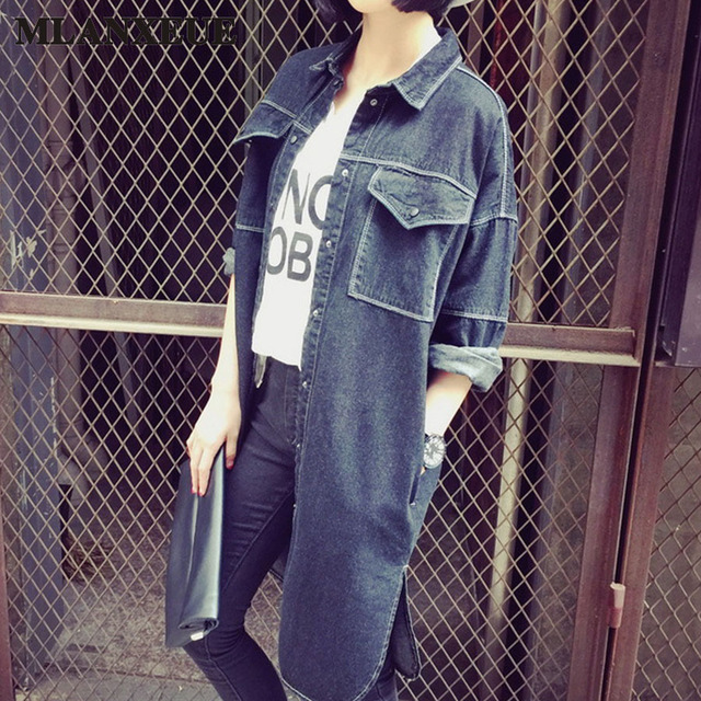 New High Fashion Street Woman Casual Vintage Denim Outerwear Loose Clothing Good Quality Long-Sleeved Long Section Denim Jacket
