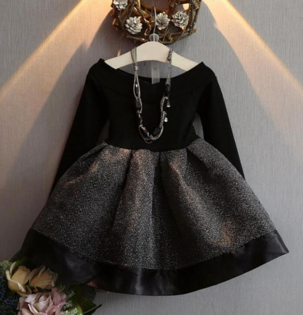 66d60bf3d Autumn Baby Long sleeve Dress Girls Shiny black gauze tutu Dresses ...