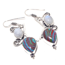 Rainbow Calsilica Earrings Silver Overlay over Copper ,54mm, E4051