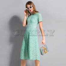 Cuerly High Quality Long Elegant Dresses Summer 2018 Flare Sleeve Embroidery Runway White / Green Hollow Out Lace Dress Women