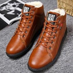 Botas de tornozelo homens preto tamanho grande 11 botas de inverno sapatos masculinos botas de neve de pele quente