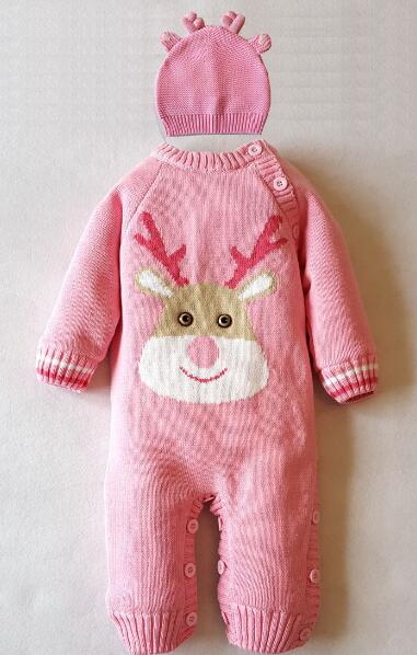 High newborn overalls quality Winter Christmas elk style Baby Romper cotton line fabric soft coral thick  with antlers hat winte skullies beanies newborn cute winter kids baby hats knitted pom pom hat wool hemming hat drop shipping high quality s30