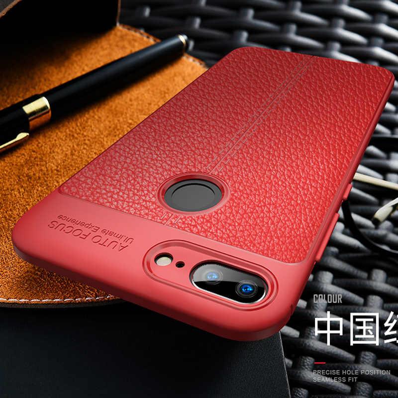 Para Huawei Honor 10 9 Lite 8X suave silicona 3D Litchi cuero TPU funda resistente para Huawei Nova 3 3i 2i 3E 2S 2 Lite funda