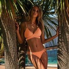 цена FWMS Swimsuit Solid Sexy Bikinis 2019 Mujer Swimwear Women Push Up Thong Bikini Brazilian Bathing Suit Beachwear Biquini XL онлайн в 2017 году