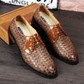 Algodón barato de moda Hombres Ocasionales de Los Planos zapatos Del Negocio Del Vestido Mocasines Punta estrecha Con Cordones de zapatos de la Boda Oxfords 022