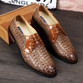Fashion Gingham Men Flats Casual Dress Business shoes Pointed Toe Lace-Up Wedding shoes Oxfords Loafers 022