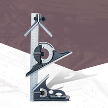 цена на 180 degree combination angle ruler combination square protractor woodworking square with horizontal bubble measurement tool