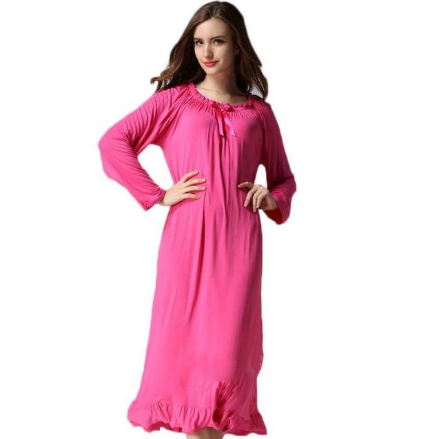 Pring e outono plus size real algodão modal de ultra longo Mulheres soltas de Manga Comprida Camisola Princesa Sleepwear AW308
