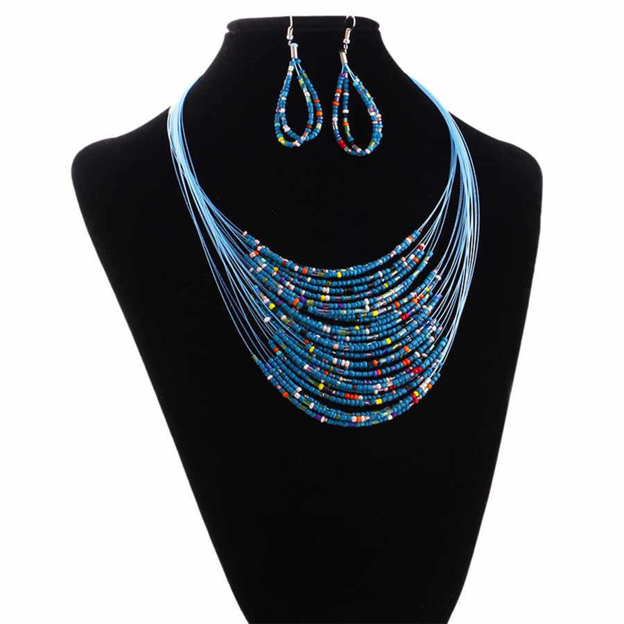 גדול גודל צבעוני תכשיטים אפריקאים סטי 20 שכבות בוהמיה שרשרת ארוך עגילי סט ארוך שרשרת הודי תכשיטי משלוח מתנות