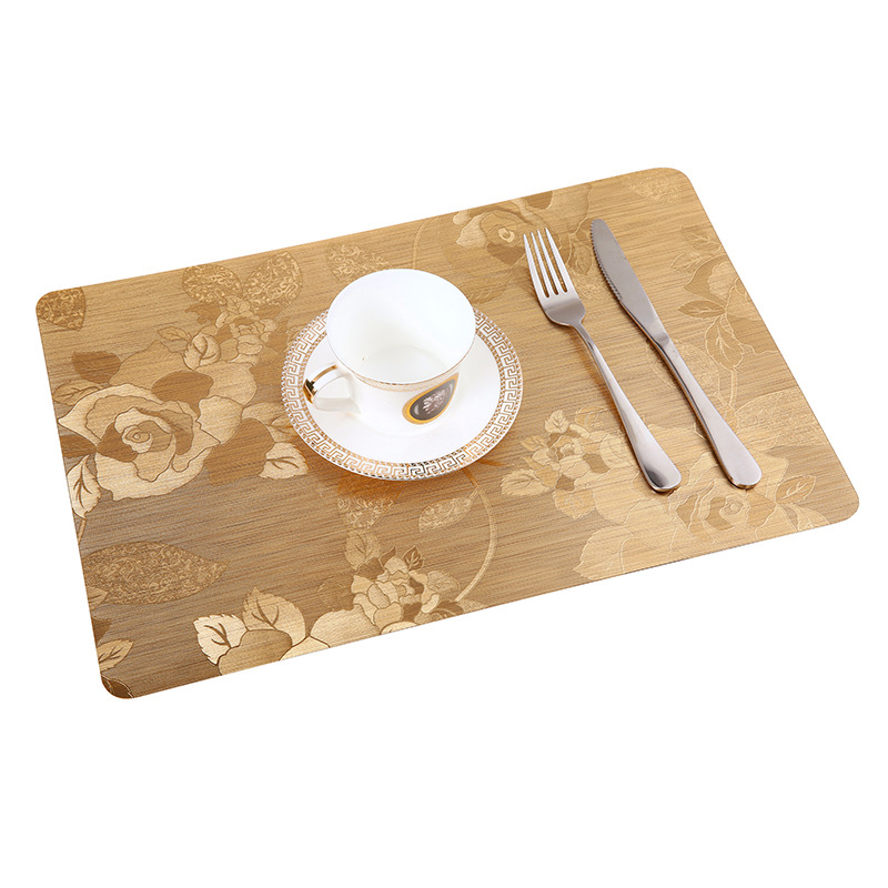 LIYIMENG 4Pcs/lot Dinner Placemat Flower Satin Finish Pvc Table Mat Pads Coasters Waterproof Chicken Pad Slip-Resistant Pad