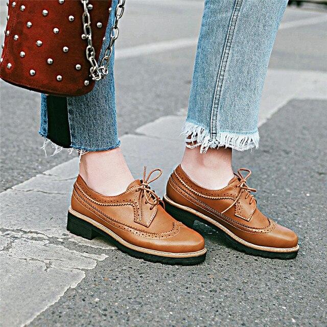 b940aa446d YMECHIC 2018 Autumn Vintage Brown Black Brogue Carve Oxfords Shoes Women  Lace Up Chunky Low Heel Pumps Punk Lady Shoes Plus Size
