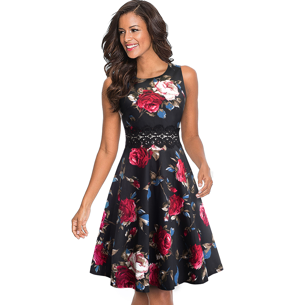 Nice-forever Vintage Elegant Embroidery Floral Lace Patchwork vestidos A-Line Pinup Business Women Party Flare Swing Dress A079 54
