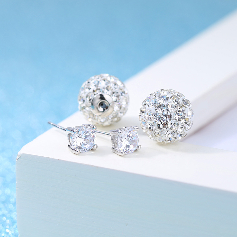 High quality fashion shiny crystal Shambhala ball female 925 sterling silver ladies stud earrings jewelry birthday gift cheap in Stud Earrings from Jewelry Accessories