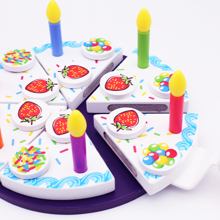 26 pcs Creative Wooden Cake Cutting Look at Children 3 6 Years Old Cut Cake Toys at Home
