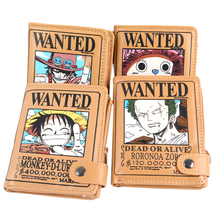 E-Mell One piece Luffy Chopper Ace Zoro Wanted Short Wallet
