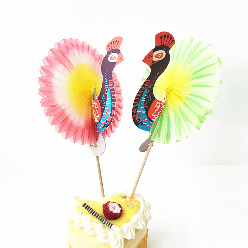 25ps Jungle Party Peacock Cake Flag Fruit Forks Wedding Table Decorations Baby Shower Birthday Party DIY Decorations Kids Favors