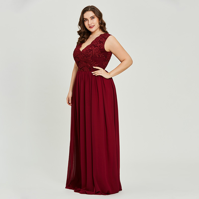 Tanpell 8-16 size a line prom dress burgundy sleeveless v neck floor length  dresses women lace appliques formal long prom gown 037616a78