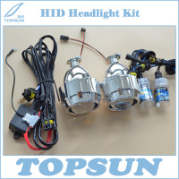 2 5 HID Projector Lens Kit Hi Lo Bi Xenon Car Headlights AC 35W Shroud Gift