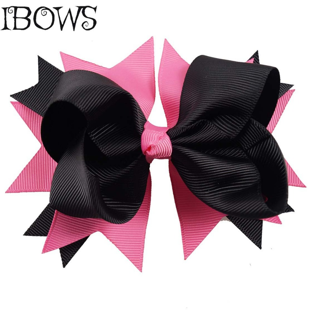 Black bow hair accessories - 4inch Big Hair Bows Pink Black Sweet Stacked Boutique Ribbon Bows Hair Clips For Girls